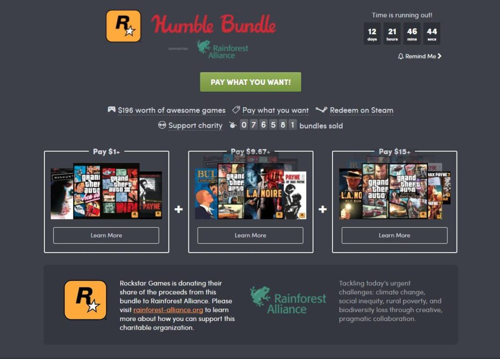 Humble Bundle Rockstar Paketi